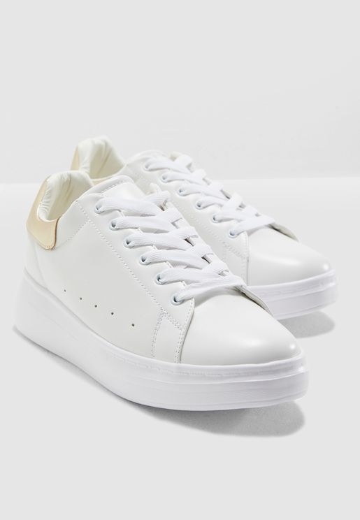 White With Gold Detail Classic Sneakers