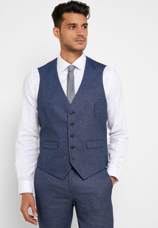 Textured Slim Fit Waistcoat