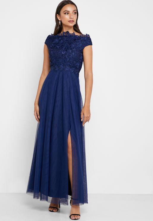 Sheer Lace Bardot Dress