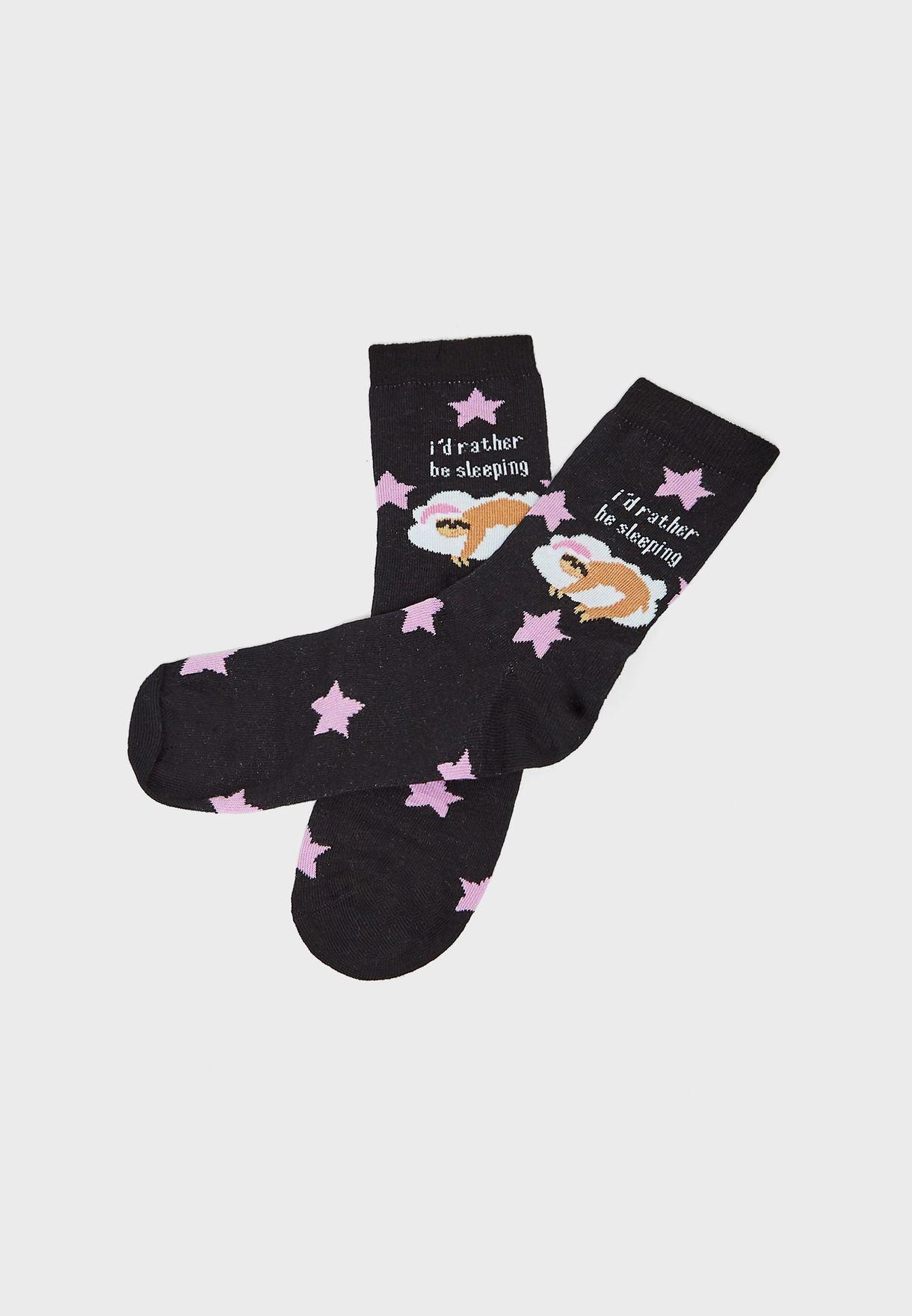 Sloth Sleeping Slogan Socks