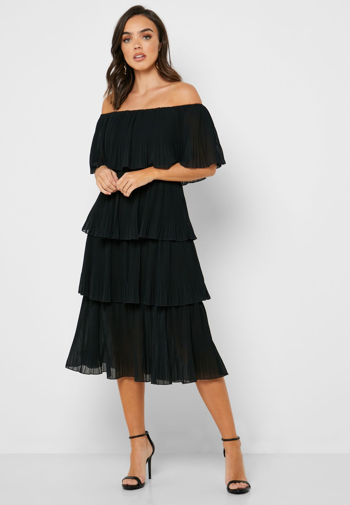 Tiered Bardot Midi Dress
