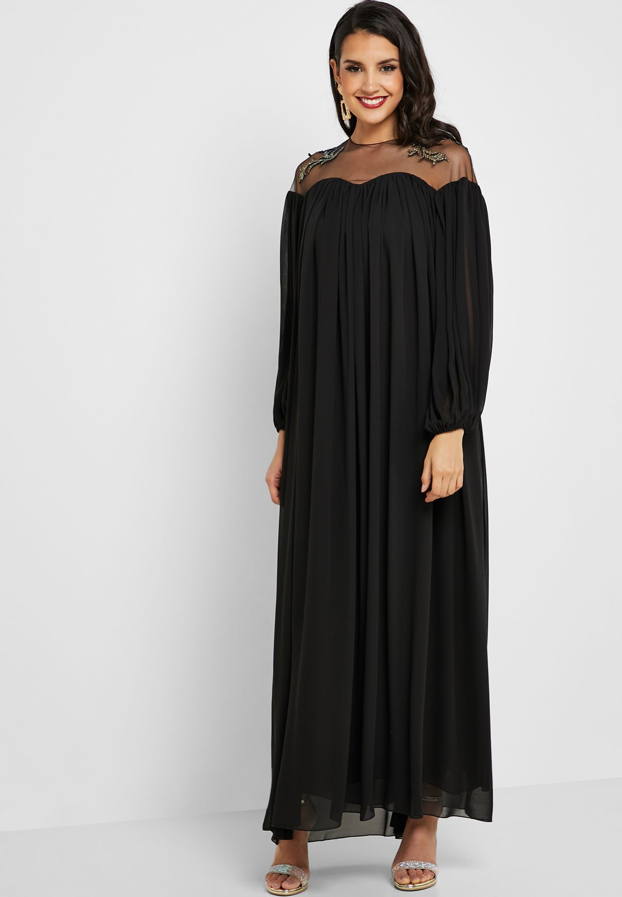 Sheer Top Pleated Maxi Dress