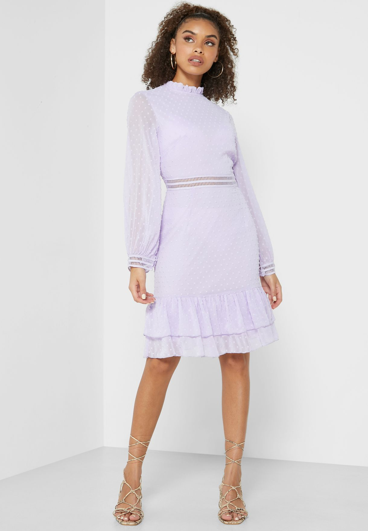 Lace Ruffle Hem Mini Dress