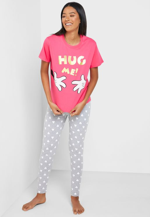 Graphic T-Shirt & Printed Cuff Pyjama Set