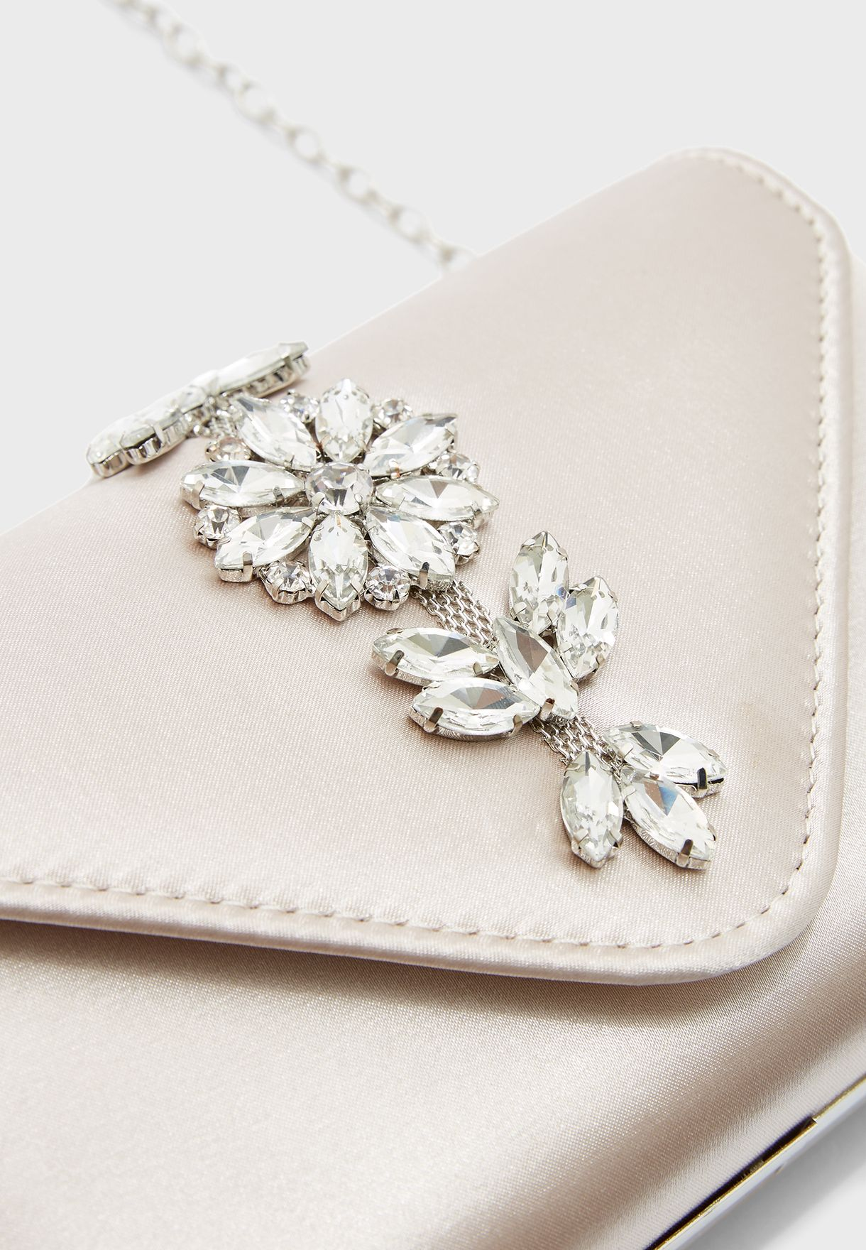Embellished Stone Detail Clutch