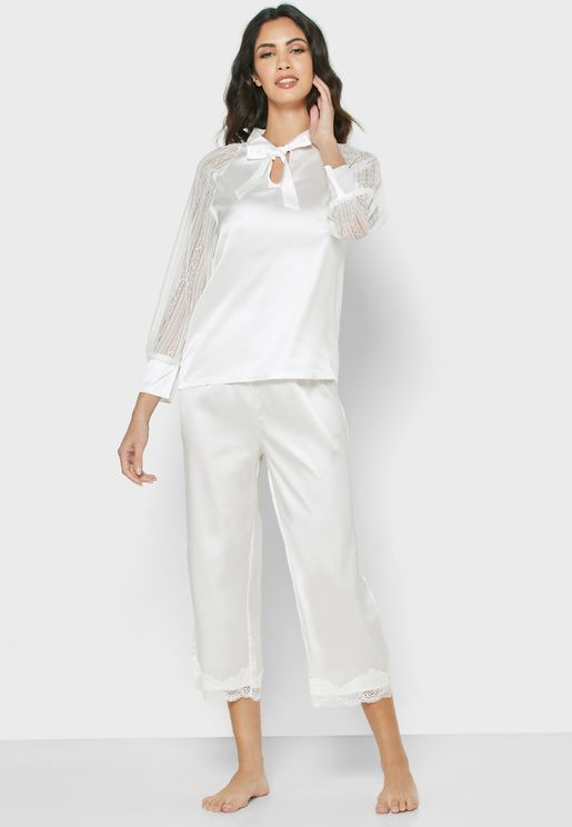 Lace Sleeve Pyjama Set