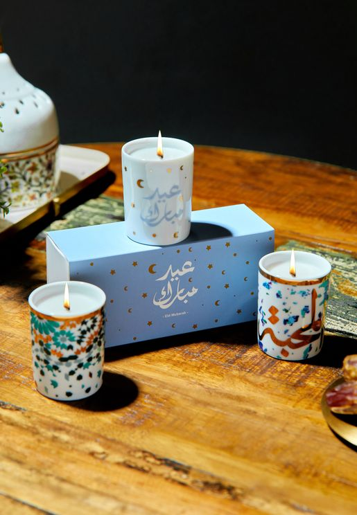 Eid Mix And Match Trio Candles With Sleeve 60G