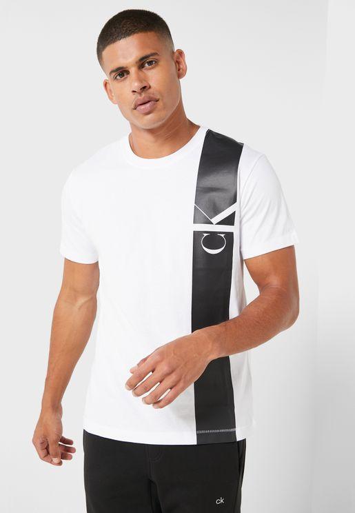 Vertical Logo Panel Crew Neck T-Shirt