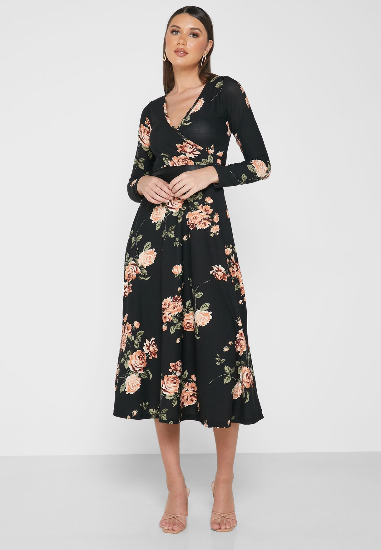 Floral Print Wrap Front PU Belted Midi Dress