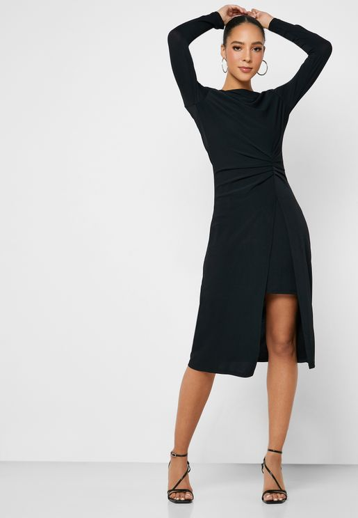 Front Split Ruched Detail Dress