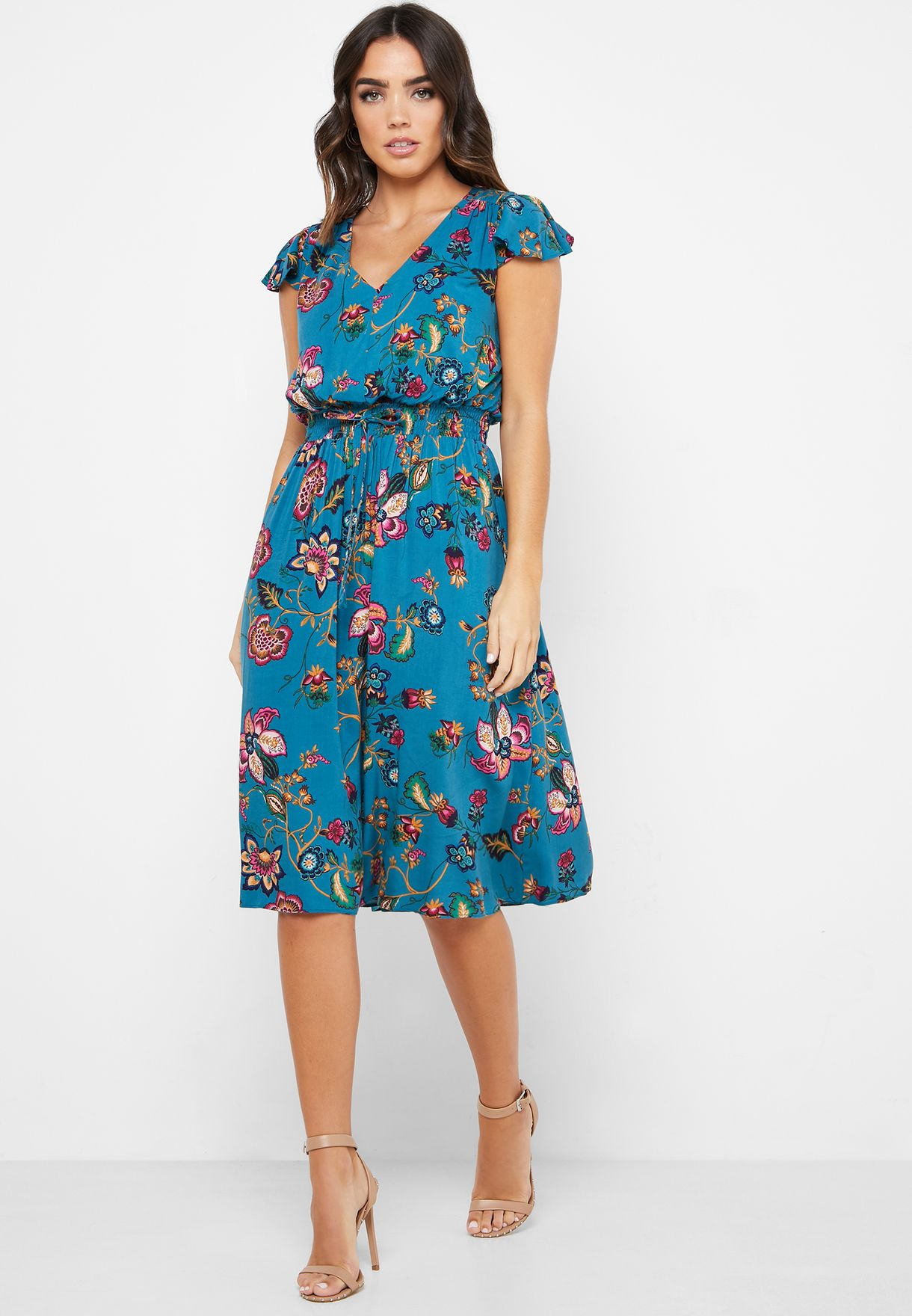 Floral Print Shirred Waist Dress