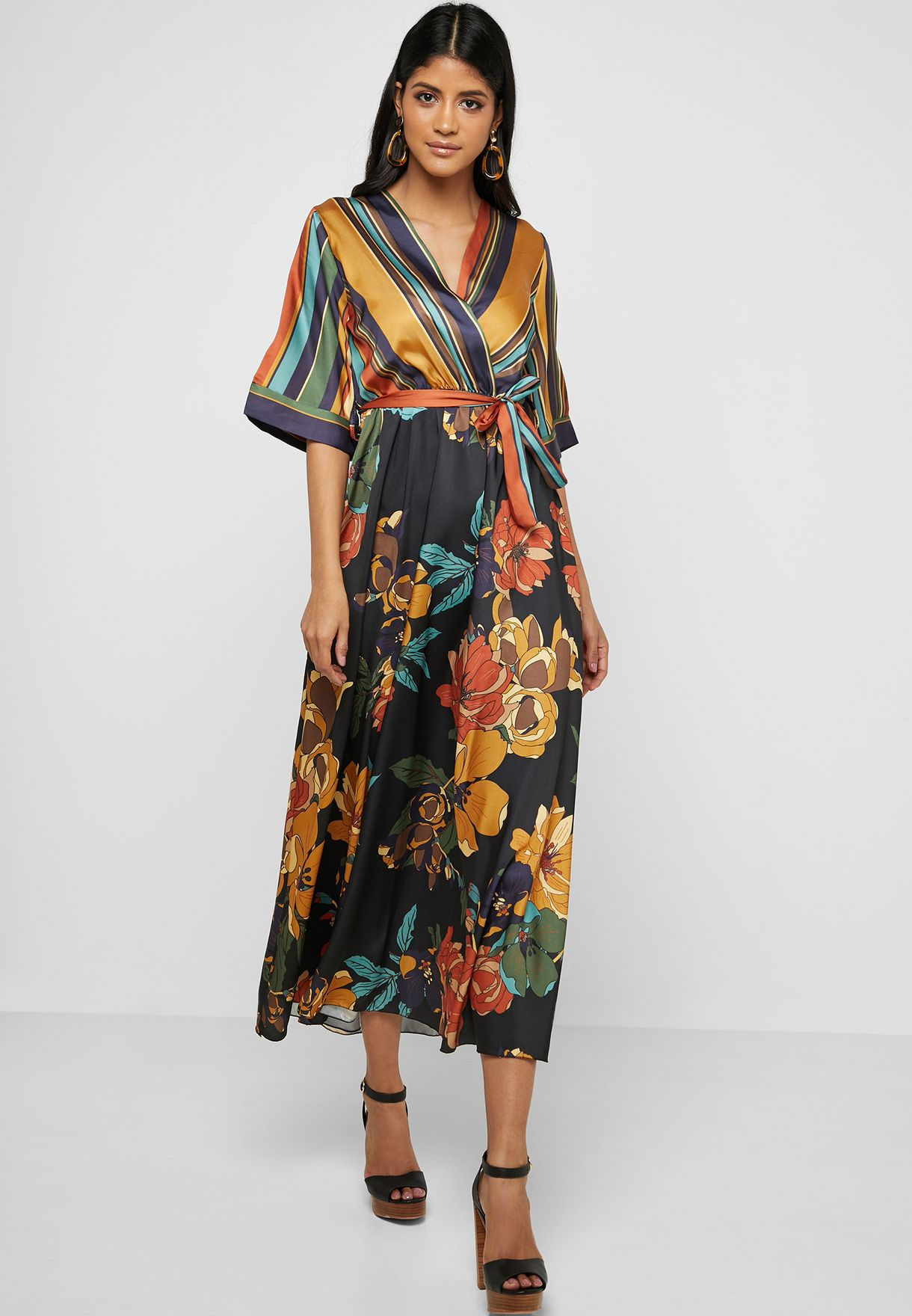 Mixed Print Wrap Front Maxi Dress