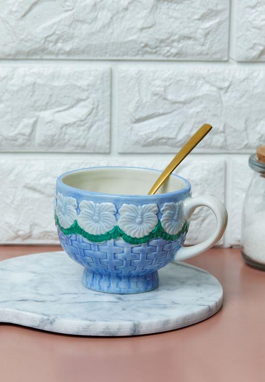 Floral Embossed Ceramic Mug