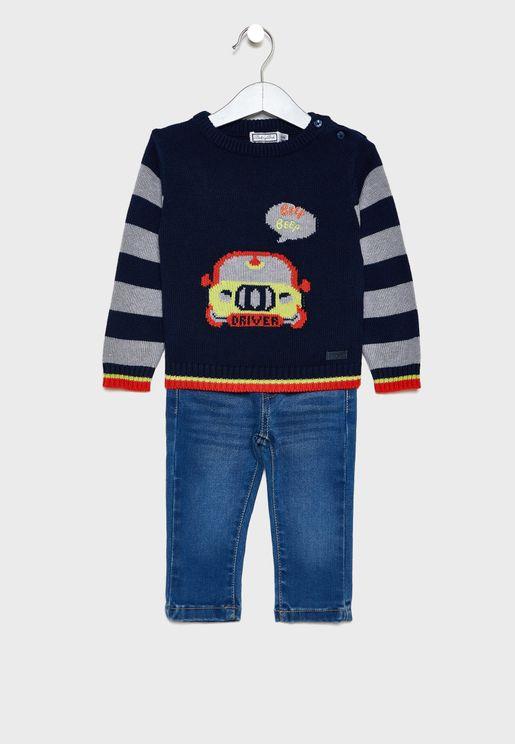 Kids Car Sweatshirt + Jogg Jeans Set