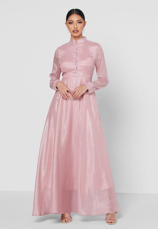 فستان بازرار وياقة صينية