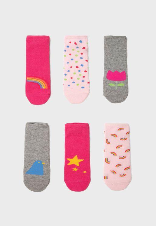 Kids 6 Pack Printed Socks