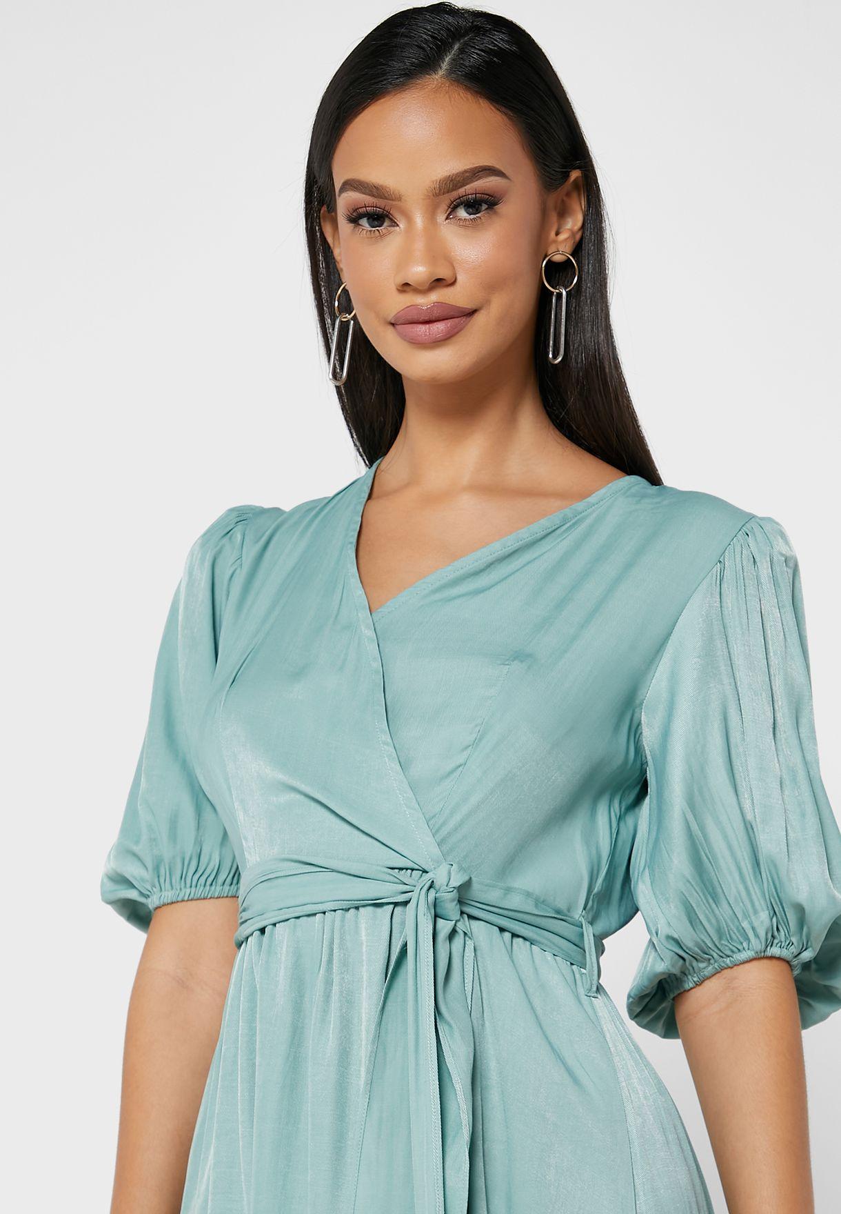 Puff Sleeve Wrap Dress