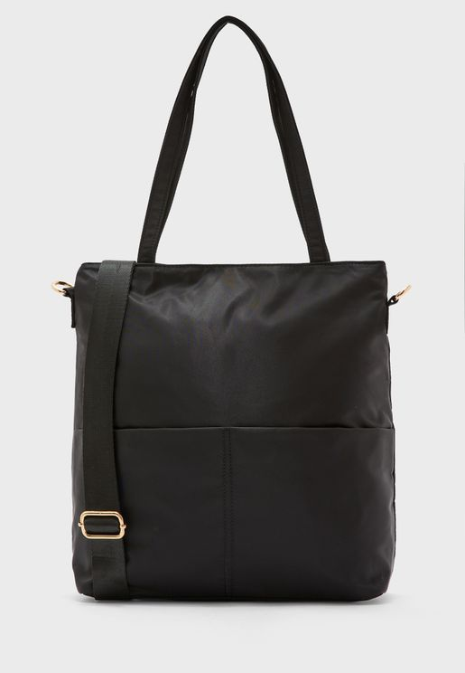 Nylon Shopper with Pockets