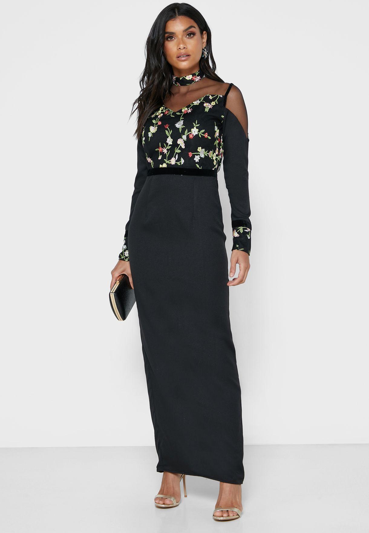 Side Split Embroidered Dress