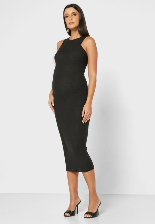 Rib Racer Neck Midi Dress