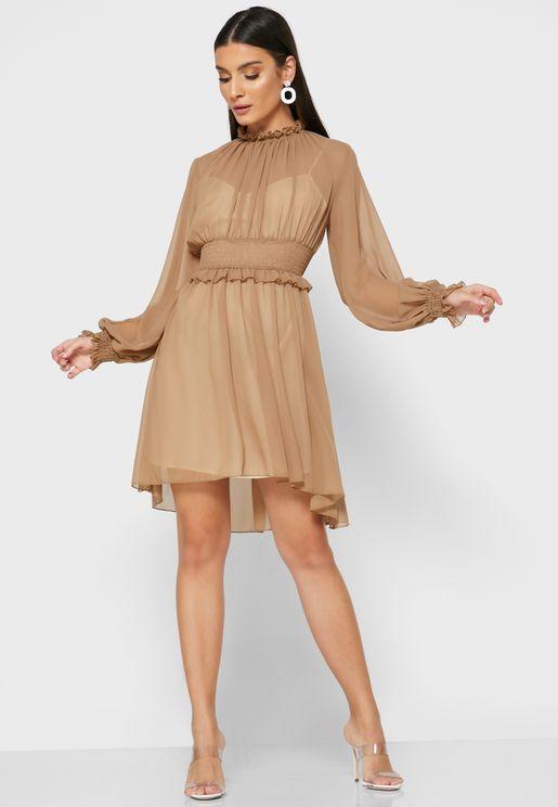 فستان قصير بخصر مزموم