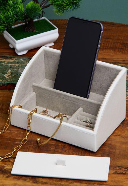 صندوق مجوهرات مع حامل هاتف