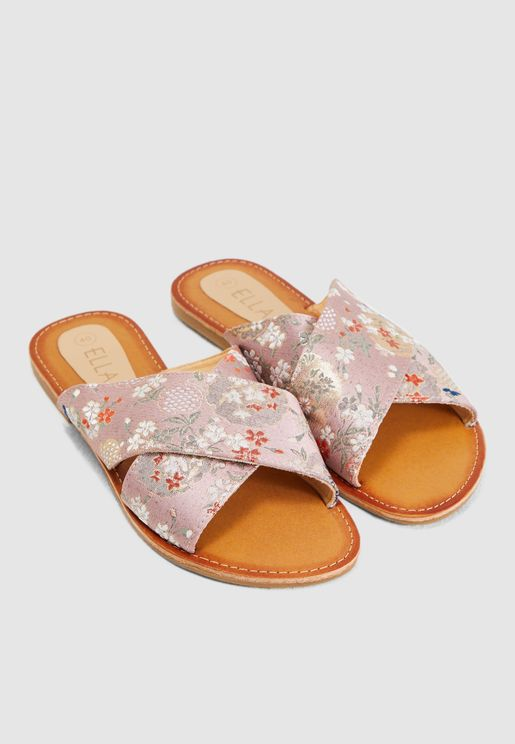 Cross Over Sandal With Floral Detail