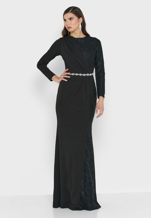One Side Lace Belted Maxi Dress