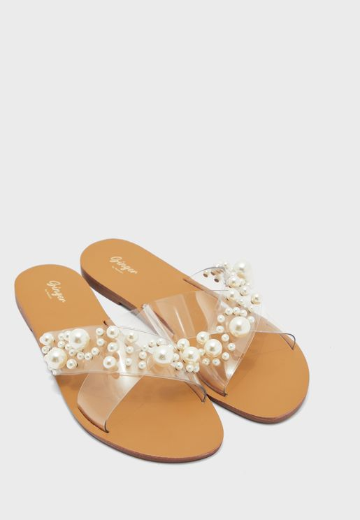 Clear Pearl Embellished Double Strap Flat Sandal