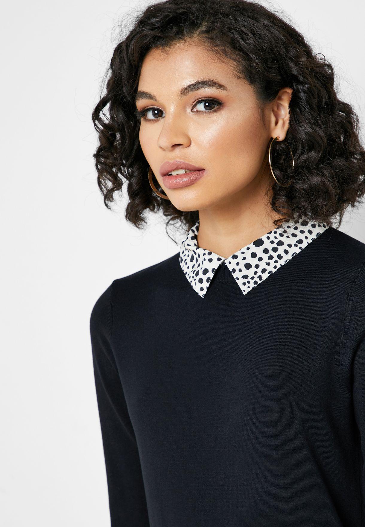Printed Collar 2 In 1 Top