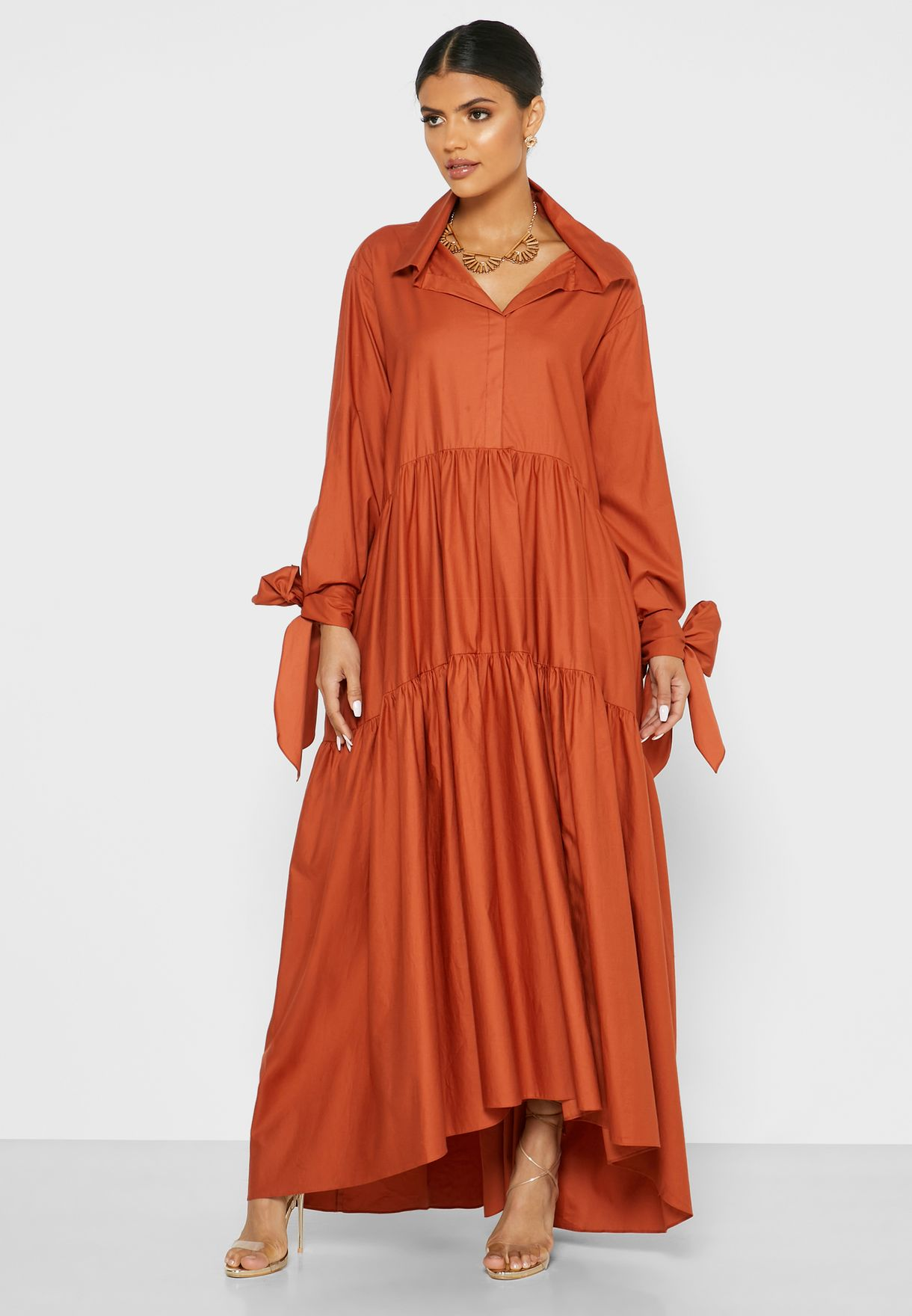 Tiered Long Sleeve Maxi Dress