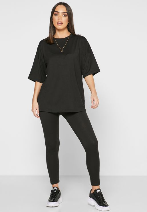 High Waist Leggings & T-Shirt Set