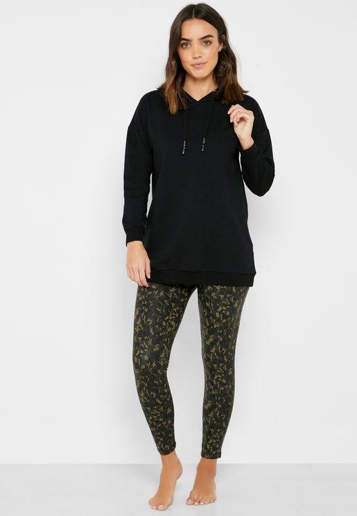 Oversize Hoodie & Printed Leggings Set