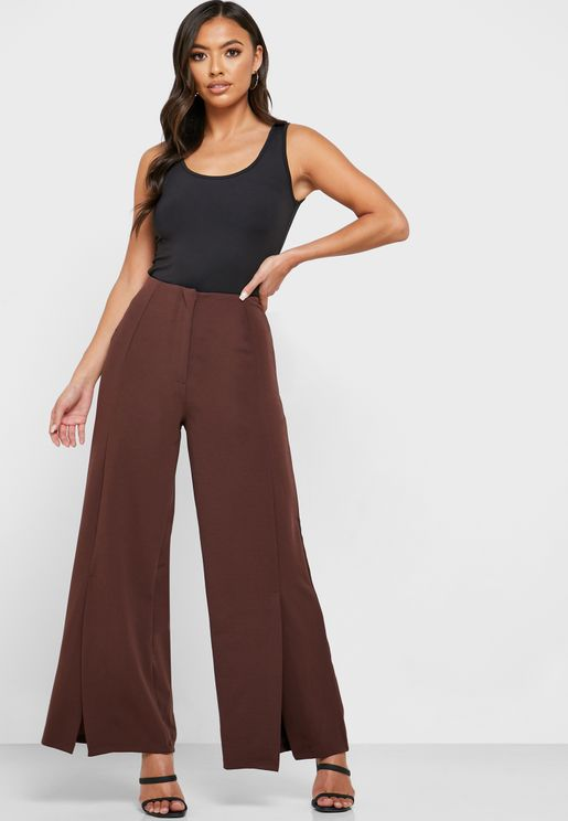 Wide Leg Front Slit Pants