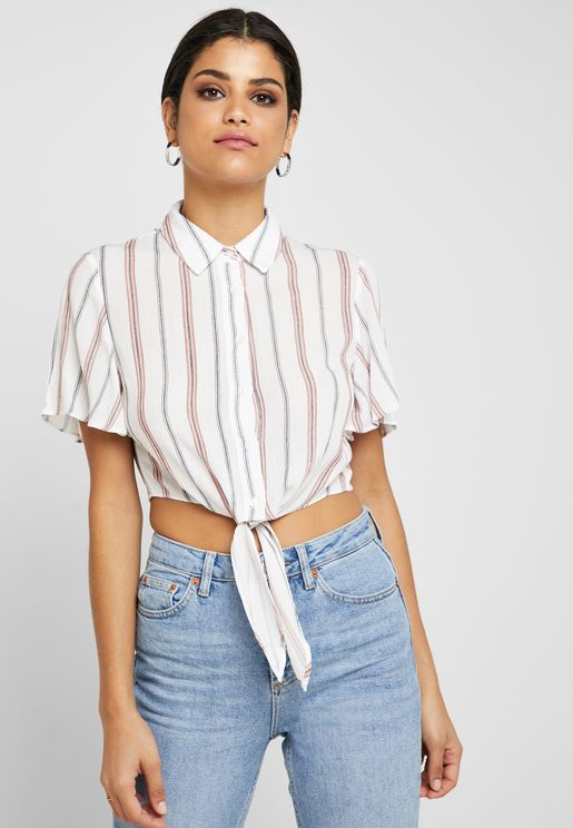Striped Tie Front Cropped Shirt