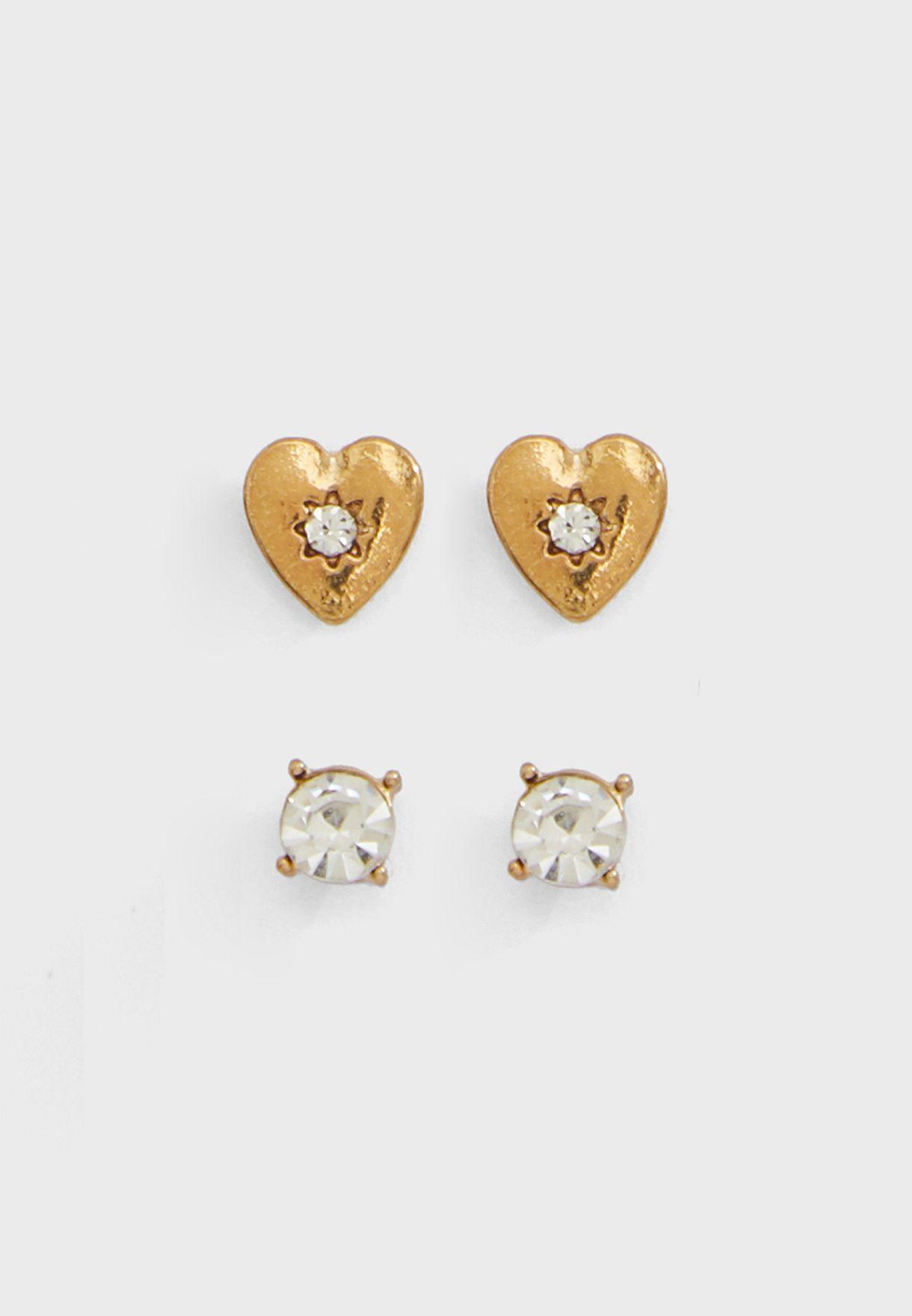 Heart Charm Necklaces & Earrings Set