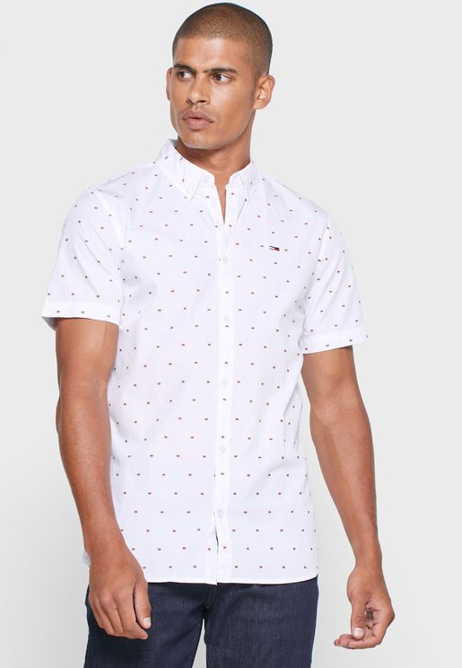 Dobby Print Slim Fit Shirt