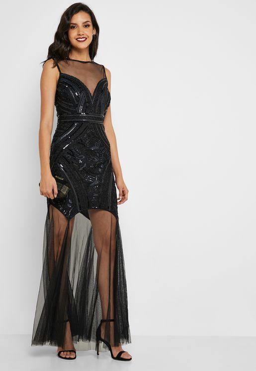 Sequin Detail Organza Maxi Dress