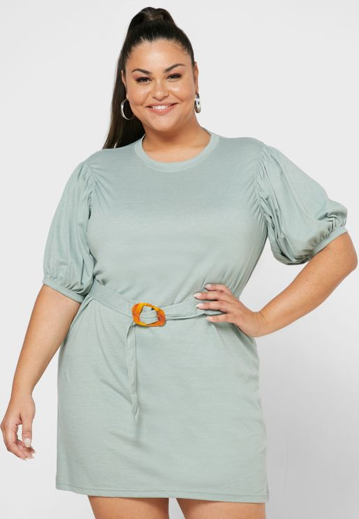 Puff Sleeve Belted Jersey Dress