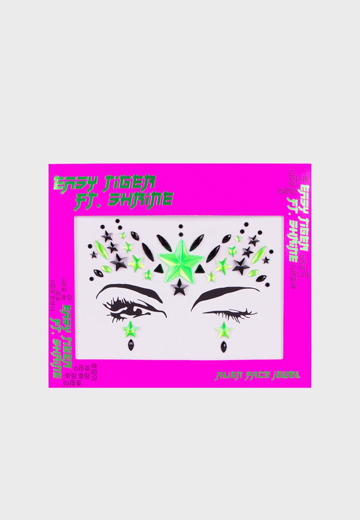 Alien Face Jewel - Green