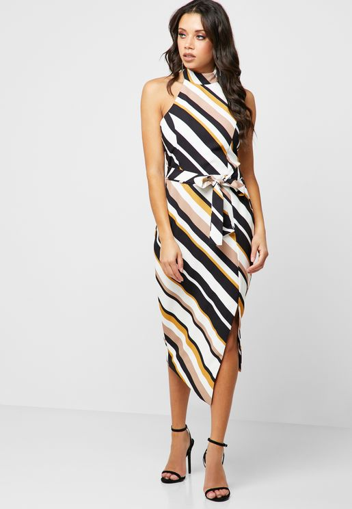 Halter Neck Belted Striped Midi Dress