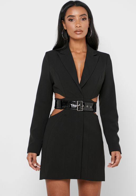 Belted Cut Out Blazer
