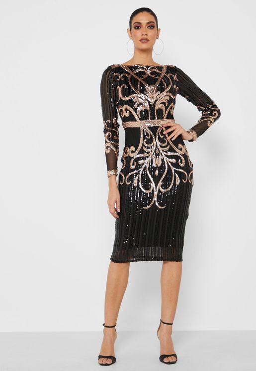 فستان ميدي مزين بالترتر