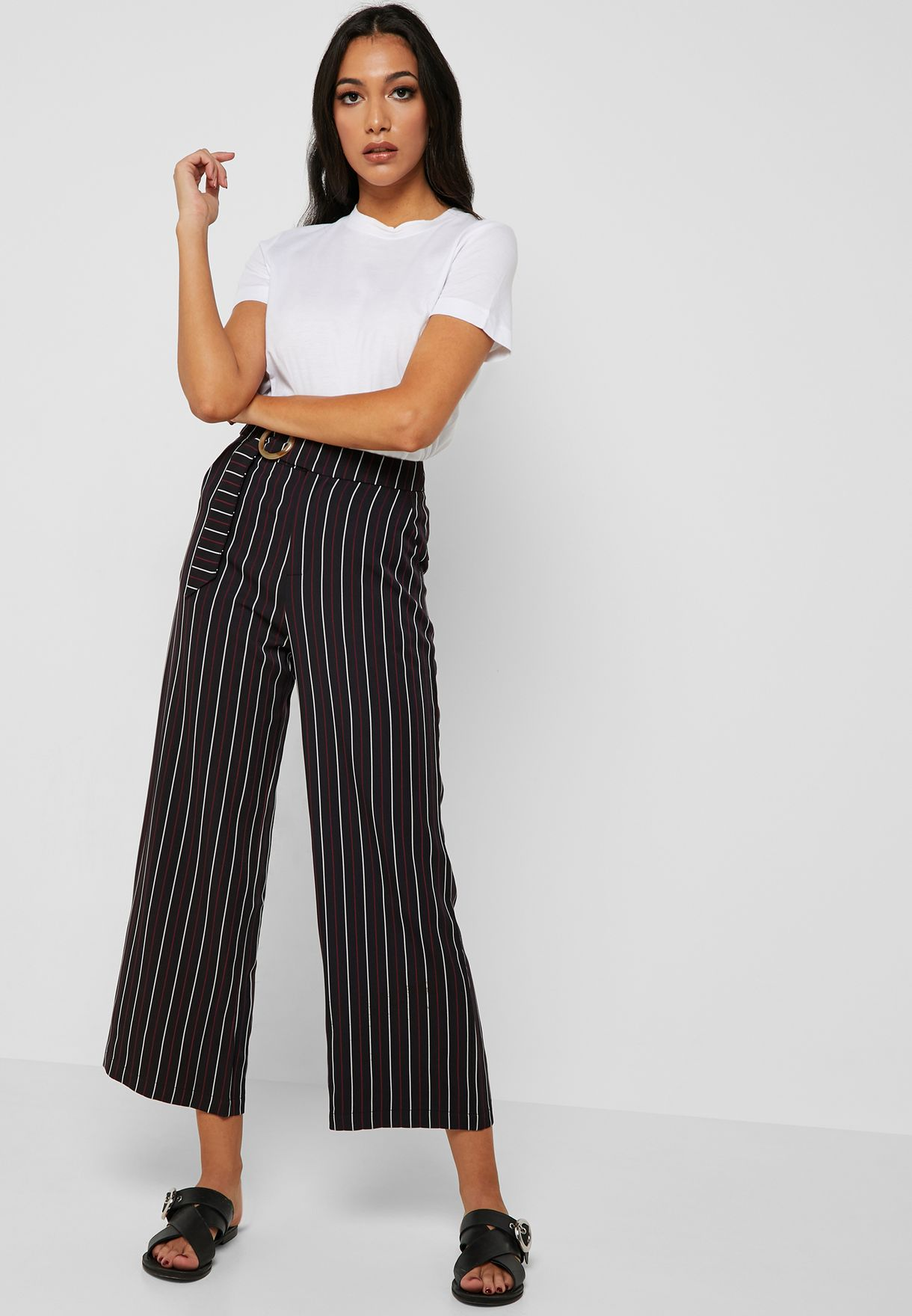 Buy Ella Stripes Striped Ring Belted Cropped Pants For Women, Uae 13288at08kyp