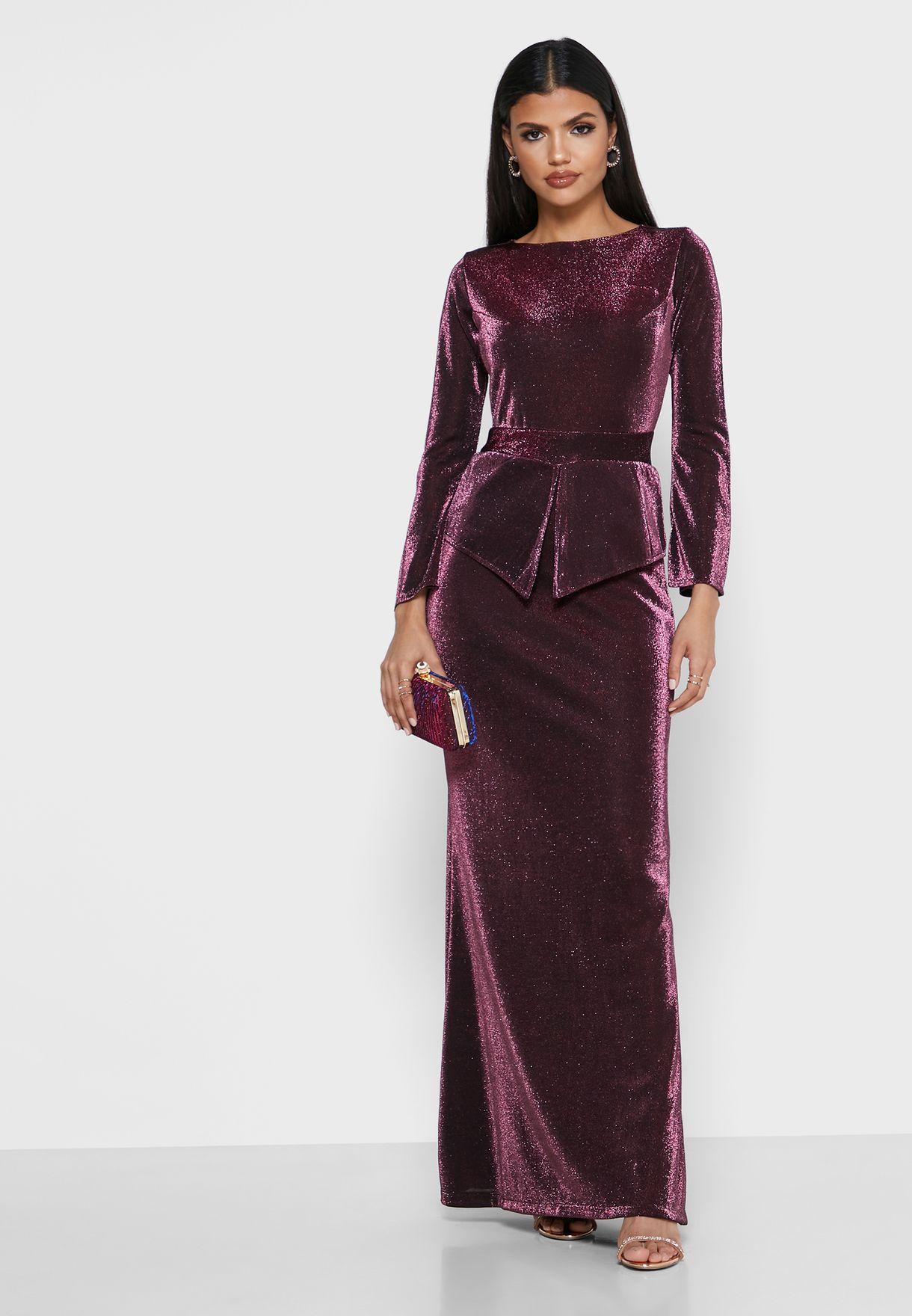 Lurex Peplum Maxi Dress