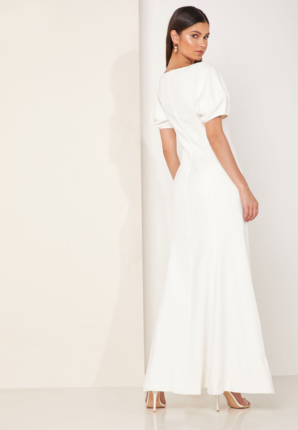 Knowing You Volume Sleeve Maxi Dress