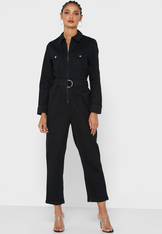 Belted Zip Through Jumpsuit