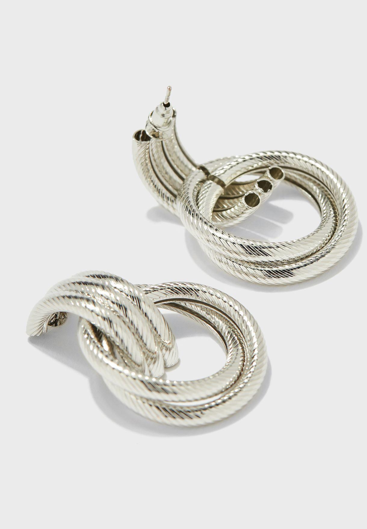 Textured Triple Ring Drop Earrings