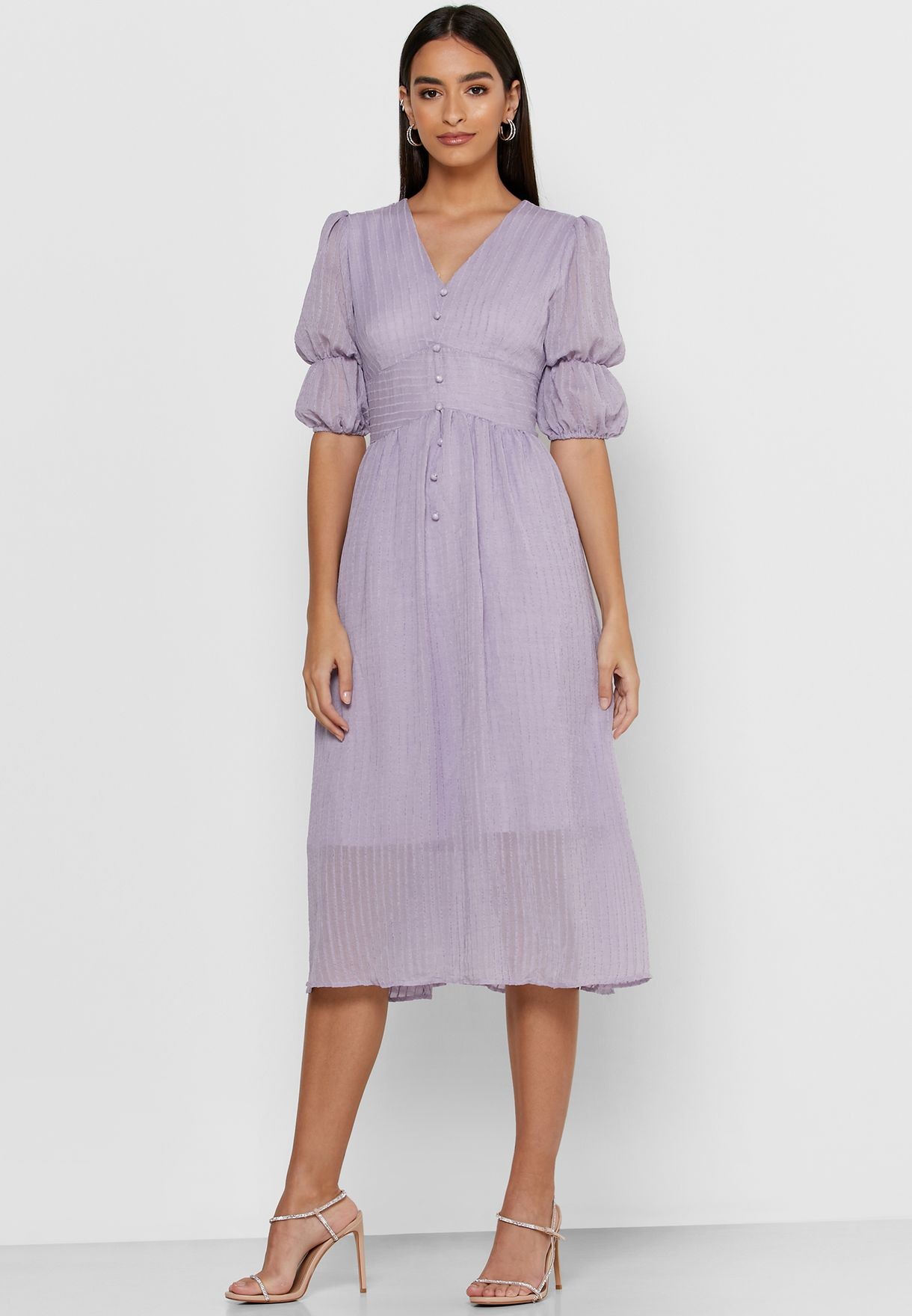 Puffed Sleeve Button Front Midi Dress
