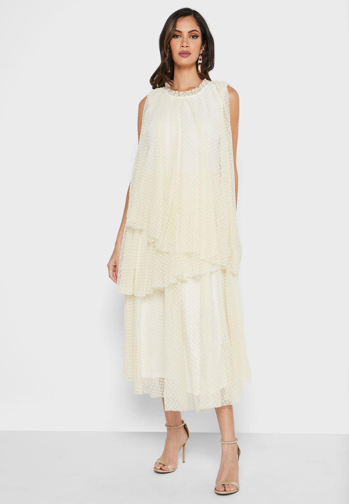 Asymmetric Layered Mesh Dress